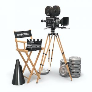 vintage camera director chair